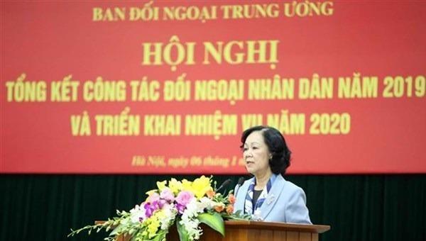 Ủy viên Bộ Chính trị, Trưởng ban Dân vận Trung ương Trương Thị Mai phát biểu tại hội nghị.