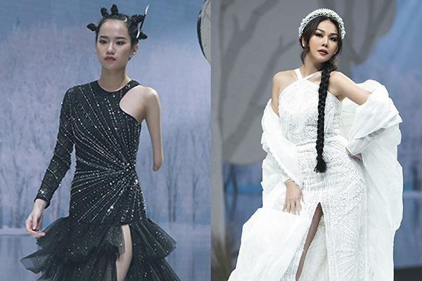 Người mẫu khuyết tay Hà Phương hạnh phúc khi diễn cùng đàn chị Thanh Hằng