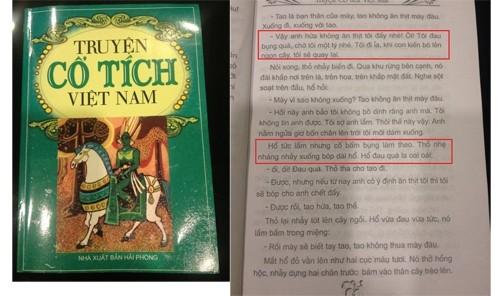 """Sách """"Truyện cổ tích Việt Nam"""" và trang truyện """"Thỏ trắng và Hổ xám""""."""