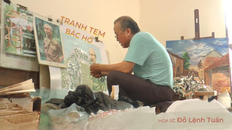 Theo chân họa sĩ dành gần 3 thập kỉ để vẽ tranh ghép tem về Bác Hồ
