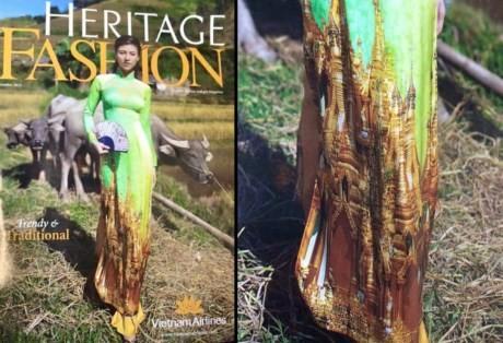 Tà áo dài trên bìa Tạp chí Heritage của Vietnam Airlines gây tranh luận.