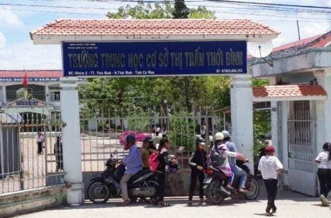 Trường THCS thị trấn Thới Bình nơi xảy ra vụ việc