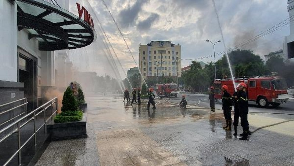 Trung tâm thương mại Vincom Plaza nơi giả định xảy ra tình huống hỏa hoạn