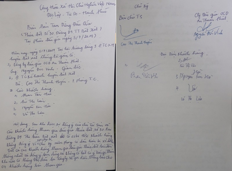Biên bản tạm dừng đấu giá thửa đất số 30, đường D9, thị trấn Bát Xát, huyện Bát Xát, tỉnh Lào Cai