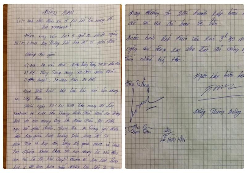 Biên bản và chữ ký thật của anh Lê Hoài Hận trong buổi làm việc với lãnh đạo Trường Tiểu học B thị trấn Phú Hòa (Thoại Sơn, An Giang)