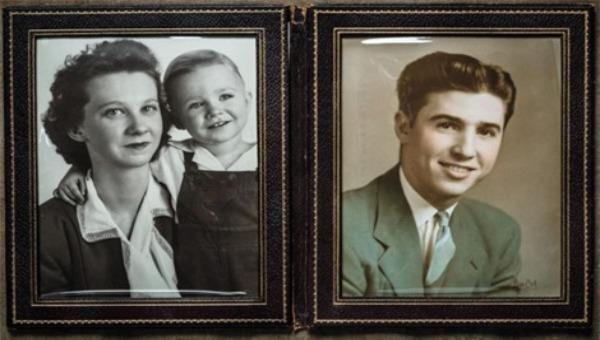 Ảnh trái: Bà Maribelle và John một thời gian ngắn sau khi ông Hesley mất tích. Ảnh phải: Thiếu úy William Hesley chụp năm 1941. (nguồn: Dan Winters)