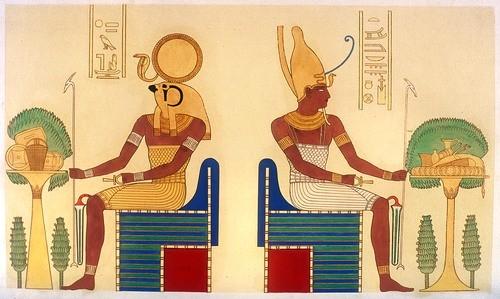 Bức họa cổ thần Ra và Atum