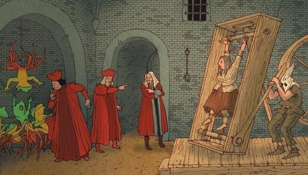 Họa hình cảnh một nữ phù thủy châu Âu bị đưa lên đoạn đầu đài.