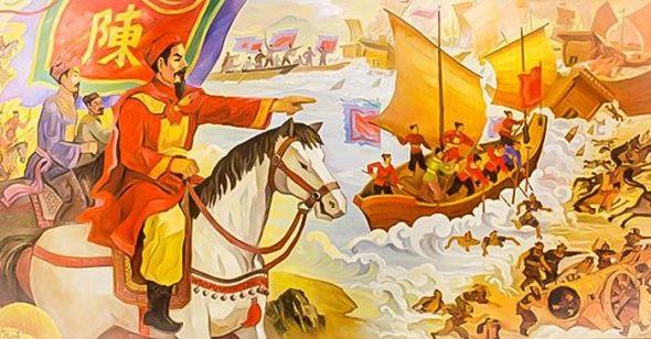 """Họa hình Trận Bạch Đằng 1288 """"sấm rung chớp giật"""" khiến quân Nguyên - Mông bạt vía."""
