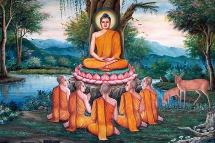 Đức Phật thuyết pháp cho 5 đệ tử đầu tiên, trong đó có Tôn giả Kiều Trần Như.