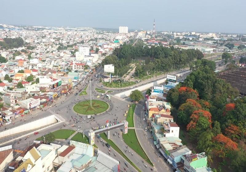 Thành phố Biên Hòa chụp từ trên cao.