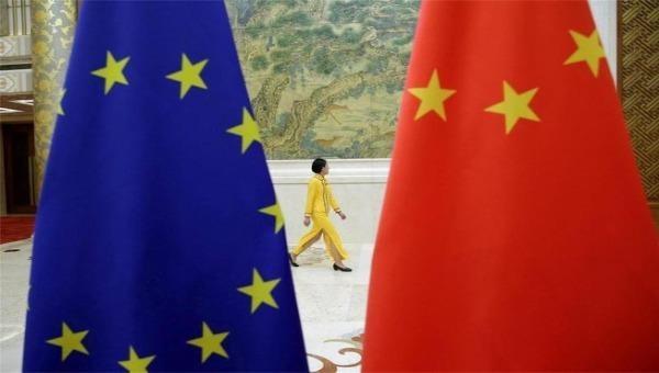 Cờ EU và cờ Trung Quốc ở Bắc Kinh.