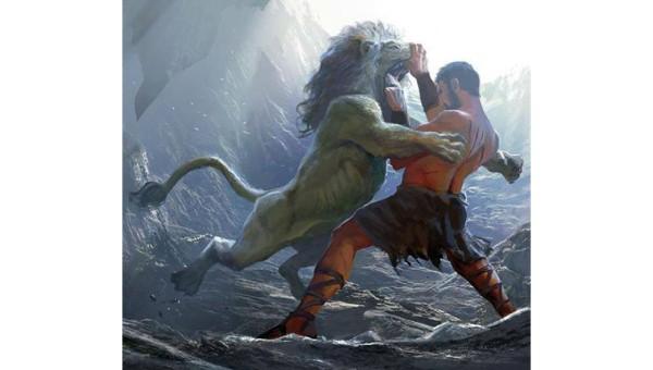 Heracles chiến đấu với con sư tử Nemean trong nhiệm vụ đầu tiên.