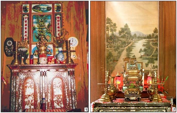 Tranh kiếng dùng để trang hoàng bàn thờ tổ tiên trong dịp Tết là phong tục của người Nam Bộ.