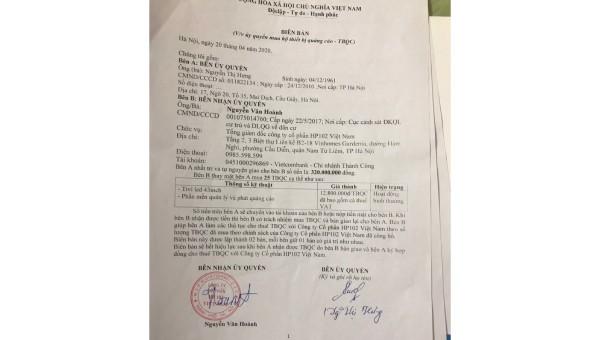 Cần làm rõ những bất thường trong hợp đồng của Cty CP HP102 Việt Nam