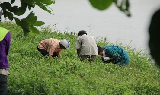 Lực lượng chức năng đưa thi thể lên bờ để làm công tác khám nghiệm tử thi.
