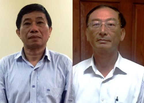 Ông Quỳnh và ông Thắng tại CQĐT (Ảnh: Cổng thông tin điện tử Bộ Công an)