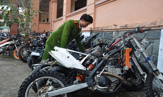 Các loại xe môtô bị thu giữ