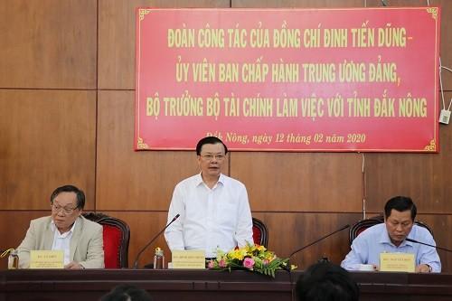 Bộ trưởng Bộ Tài chính Đinh Tiến Dũng làm việc với tỉnh Đắk Nông