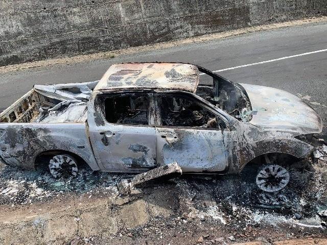 Phát hiện thi thể bị biến dạng bên trong ô tô cháy trơ khung