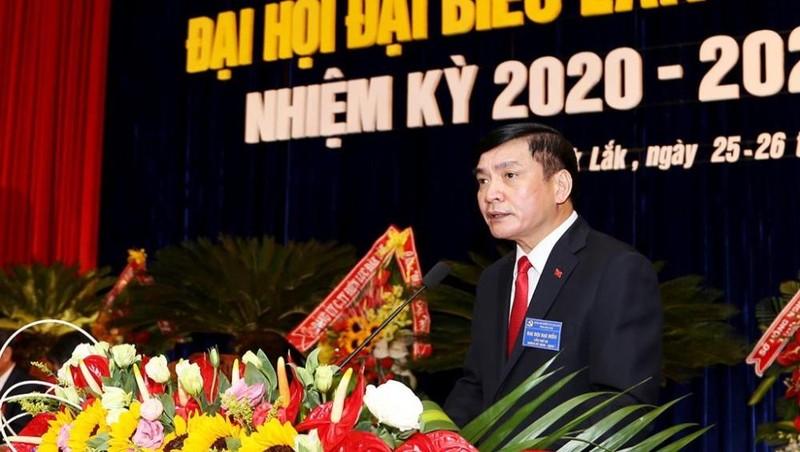 Bí thư tỉnh ủy Đắk Lắk Bùi Văn Cường phát biểu tại Đại hội.