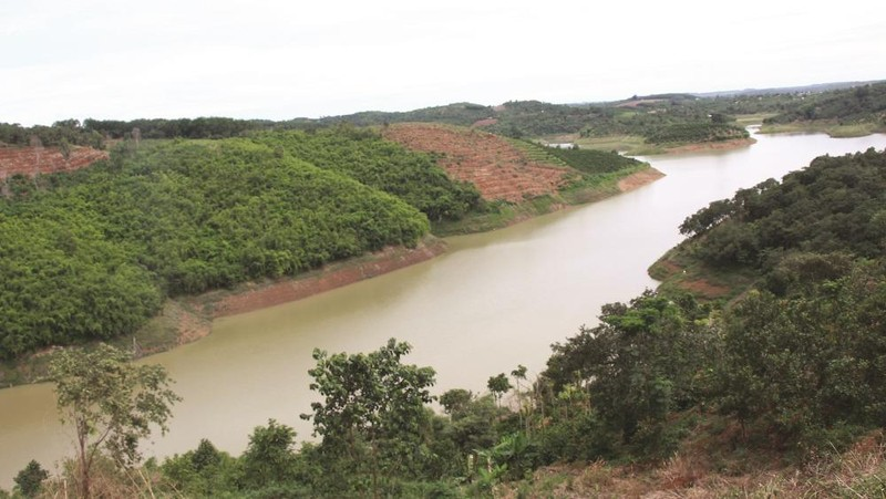 Một phần của lòng hồ thủy lợi Đắk Rồ.