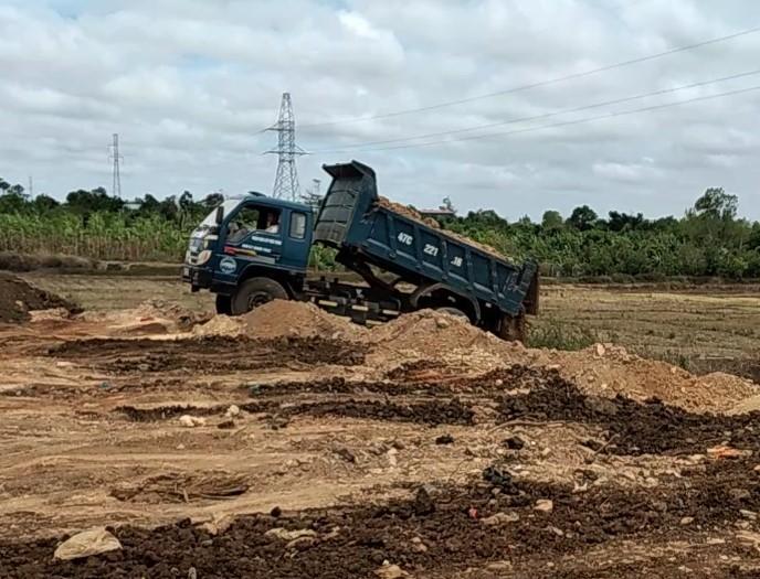 Xe tải mang logo doanh nghiệp Long Tiến ngang nhiên đổ đất san lấp đất lúa giữa ban ngày.
