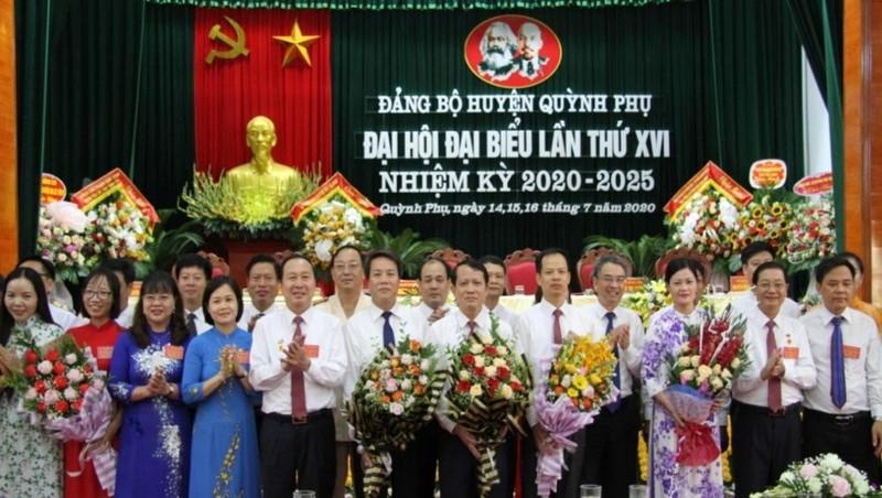 Ban Chấp hành Đảng bộ huyện Quỳnh Phụ khóa XVI, nhiệm kỳ 2020 - 2025. Ảnh: Trịnh Cường/Báo Thái Bình.
