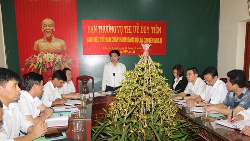 Ban Thường vụ Thị ủy Duy Tiên, Hà Nam chỉ đạo công tác chuẩn bị đại hội đảng bộ cấp cơ sở