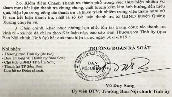 """Thanh Hóa: Chánh thanh tra thành phố Sầm Sơn bị kiểm điểm """"rút kinh nghiệm sâu sắc"""""""