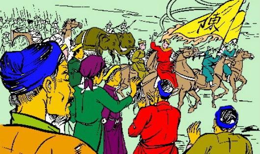 Dân chúng nô nức đón mừng quân nhà Hậu Trần (Tranh minh họa)