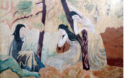 """Bức tranh """"Ba cô gái"""" của Dương Bích Liên, một trong 4 danh họa hàng đầu bị nhái nhiều"""