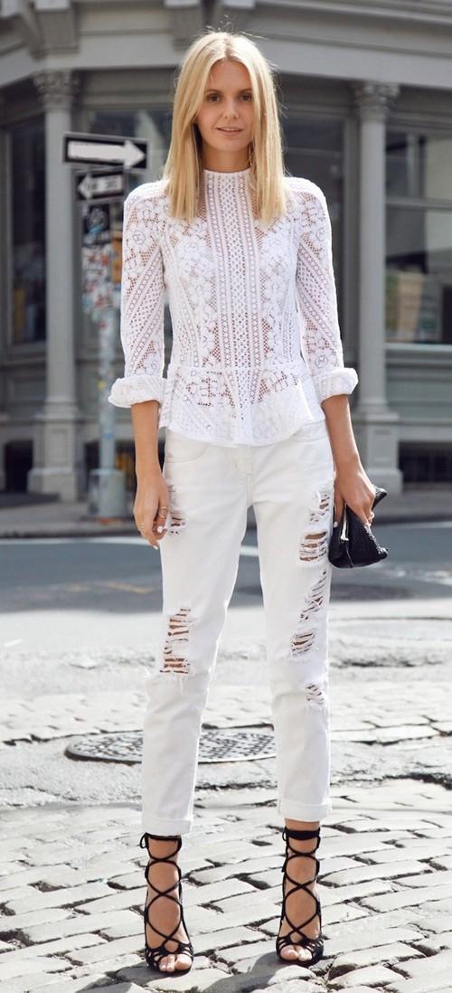 12 kiểu phối quần jeans xắn gấu phá cách