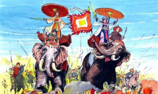 Hai Bà Trưng cưỡi voi xung trận