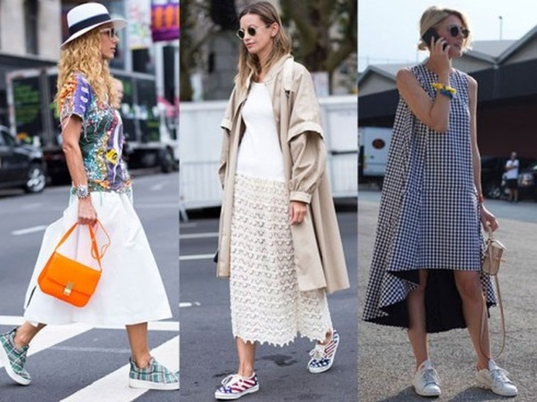 9 cách kết hợp váy & giày sneaker nữ cho cô nàng năng động