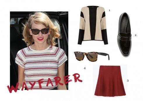 1-Áo jumper, 2-Giày loafer, 3-Váy chữ A và mắt kính Rayban Wayfarer là nền tảng thẩm mỹ nếu bạn muốn mặc đẹp như một cô gái New York nữ tính.
