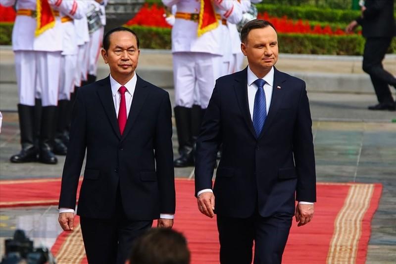 Chủ tịch Nước Trần Đại Quang và Tổng thống Ba Lan Andrzej Duda. Ảnh: Sơn Tùng