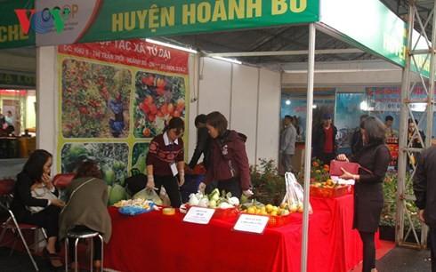 Sản phẩm nông nghiệp của Quảng Ninh tham gia hội chợ. Ảnh VOV