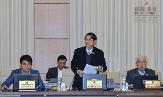 Chủ nhiệm Ủy ban Tài chính Ngân sách Nguyễn Đức Hải trình bày báo cáo thẩm
