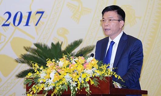 Bộ trưởng Bộ Tư pháp Lê Thành Long phát biểu tại Hội nghị.