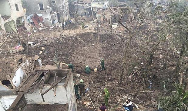 Hiện trường vụ nổ ở làng phế liệu Quan Độ, Bắc Ninh