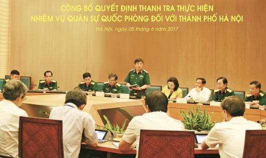 Thanh tra nhiệm vụ quân sự, quốc phòng theo kế hoạch năm 2017 đối với thành phố Hà Nội
