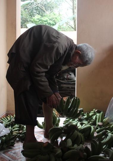 Số chuối xanh này cụ định cố bán nốt để 28 Tết nghỉ. Ảnh: Bình Minh