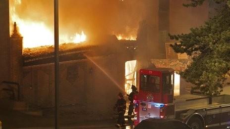 Hiện trường vụ hỏa hoạn. Ảnh: BBC