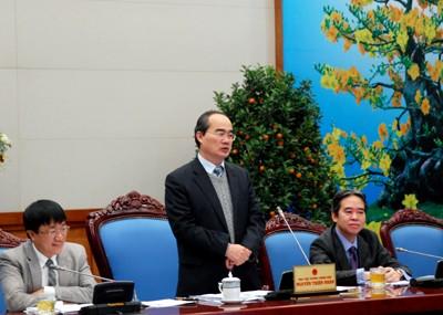 Phó Thủ tướng Nguyễn Thiện Nhân đánh giá cao hiệu quả của Chương trình tín dụng HSSV - Ảnh: VGP/Thành Chung