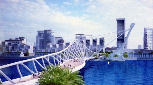 Một trong 16 phương án thiết kế kiến trúc cầu đi bộ qua sông Hàn được Tập đoàn Sun Group chuyển giao cho Sở Xây dựng Đà Nẵng thẩm định