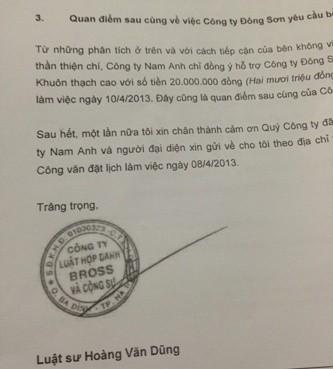 Công văn của luật sư đại diện cho công ty Nam Anh trả lời công ty Đông Sơn ngày 11/4/2013