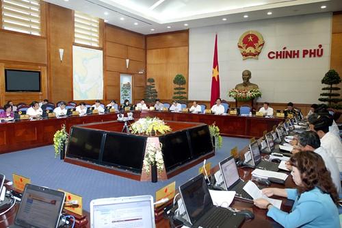 Quang cảnh buổi họp báo thường kỳ tháng 4 của VPCP.