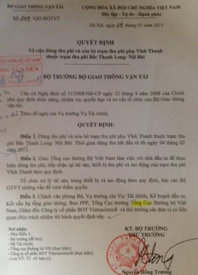 """Quyết định """"tiền trảm hậu tấu"""" của Bộ GTVT"""