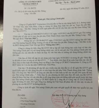 Văn bản số 156/BOT8 Công ty CP BOT Vietracimex 8 gửi Thủ tướng Chính phủ, trong đó nêu rõ 02 văn bản của Bộ GTVT có những nội dung không chính xác